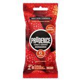 Preservativo Masculino Lubrificado Morango Prudence Cores e Sabores Pacote com 6 Unidades