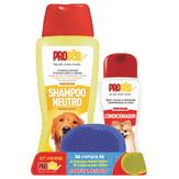Kit Shampoo Neutro Perfumado 500ml + Condicionador 200ml ProCão Grátis Uma Escova