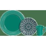 Aparelho de Jantar Turquesa Scalla Cerâmica 12 Peças