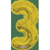 Balão Metalizado Dourado Número 3 Regina 1 Unidade