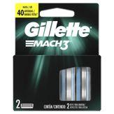 Carga de Aparelho para Barbear Gillette Mach3 Caixa com 2 Unidades