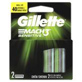 Carga de Aparelho para Barbear Gillette Mach3 Sensitive Caixa com 2 Unidades
