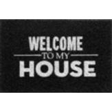 Capacho Vinil Long Terral/Preto Print Welcome To My House Kapazi 40x60cm 1 Unidade