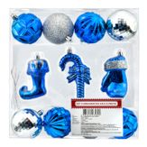 Kit Enfeites Natalinos Azul e Prata Caixa com 11 Peças