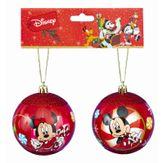 Kit Bolas Natalinas Mickey e Minnie Mouse Vermelho Disney 2 Peças